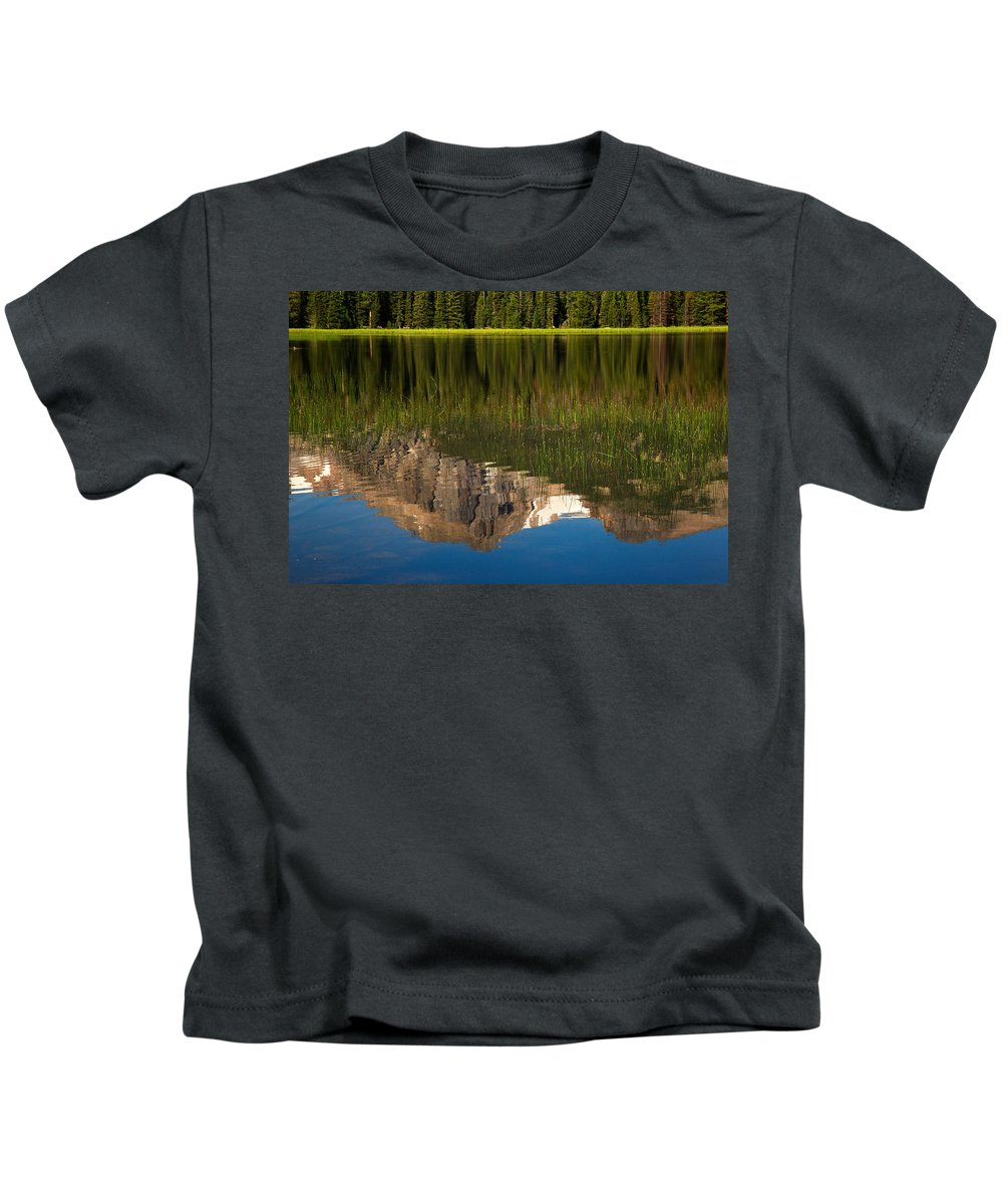 Landscape Kids T-Shirt featuring the photograph Mountain Reflection In Beirstadt Lake by Amanda Kiplinger