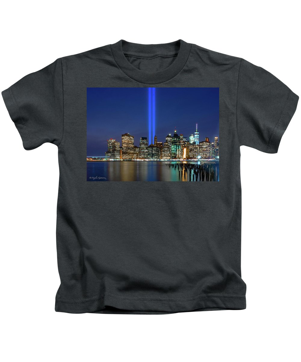 Wall Art Kids T-Shirt featuring the photograph New York City 9/11 Commemoration by Angeles Gutierrez