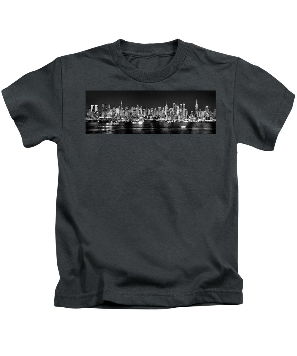 New York City Skyline At Night Kids T-Shirt featuring the photograph New York City Nyc Skyline Midtown Manhattan At Night Black And White by Jon Holiday