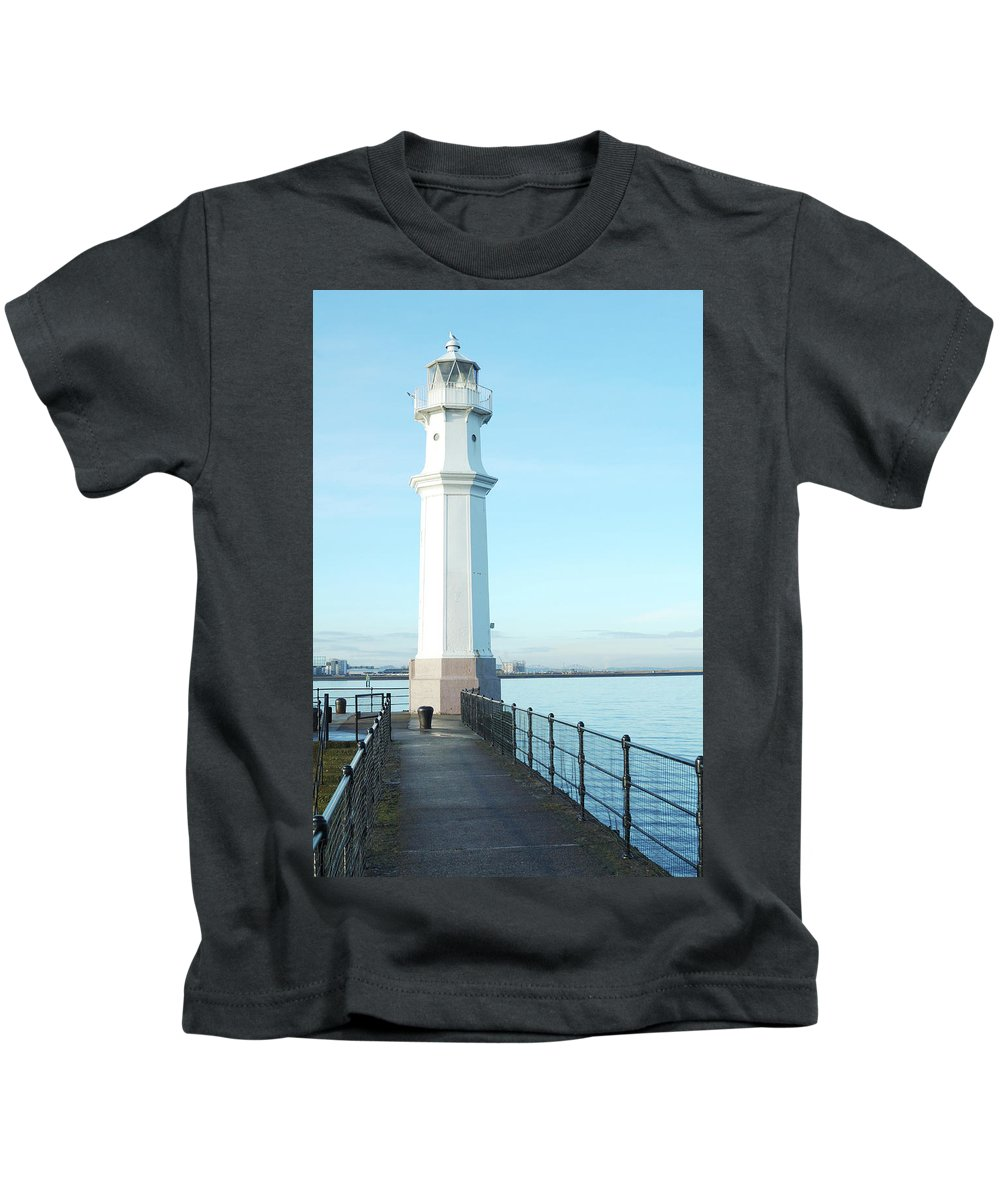 Coast Kids T-Shirt featuring the photograph Newhaven Harbour Lighthouse Edinburgh by Victor Lord Denovan