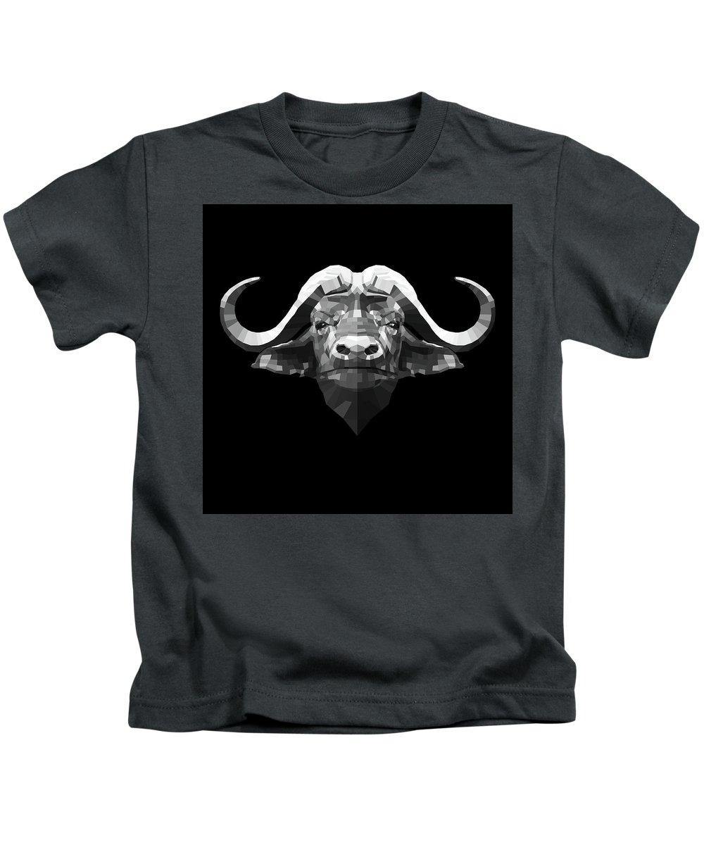 Buffalo Kids T-Shirt featuring the digital art Night Buffalo by Naxart Studio