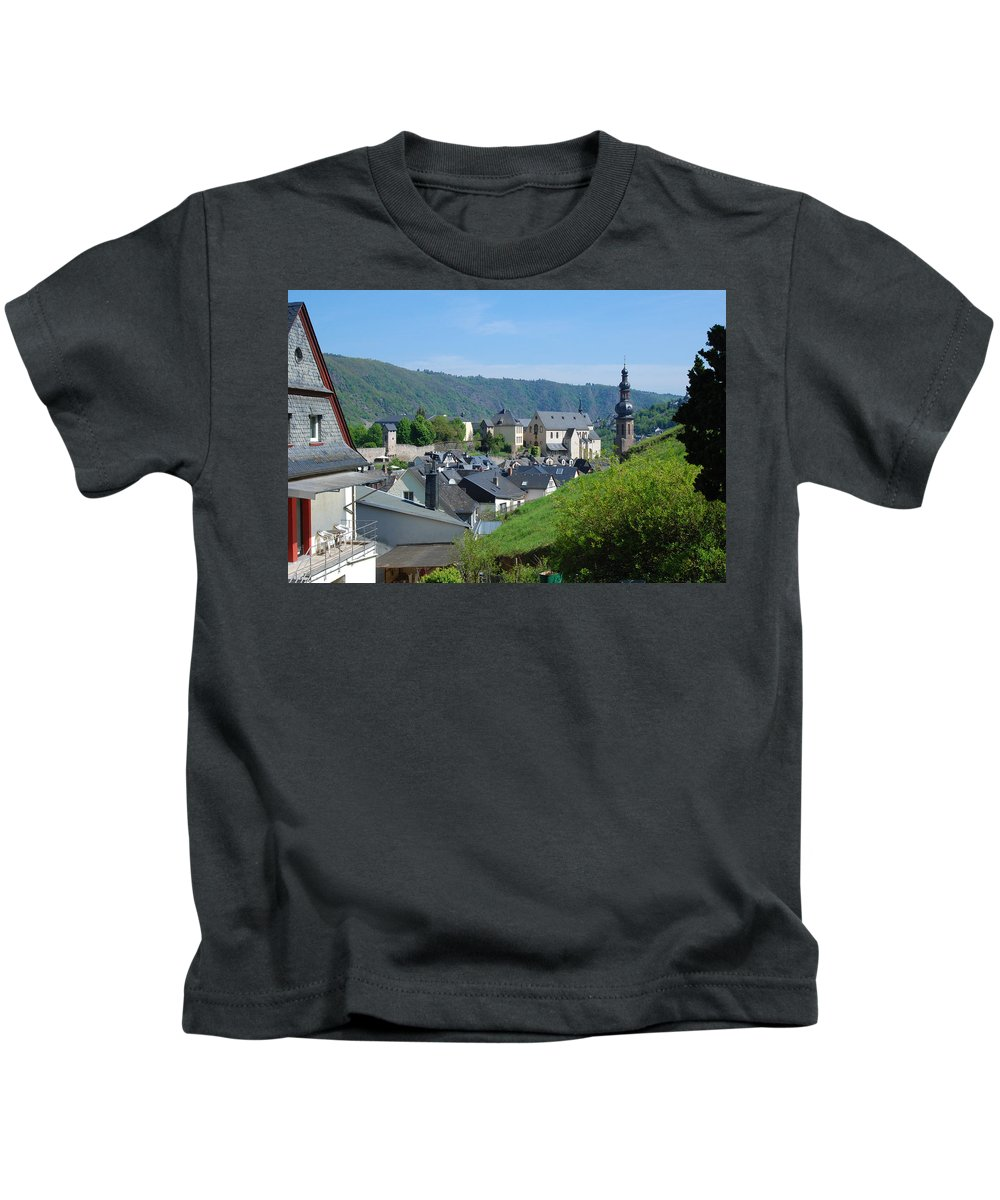 Cochem Kids T-Shirt featuring the photograph old town walls and church and buildings of Cochem by Victor Lord Denovan