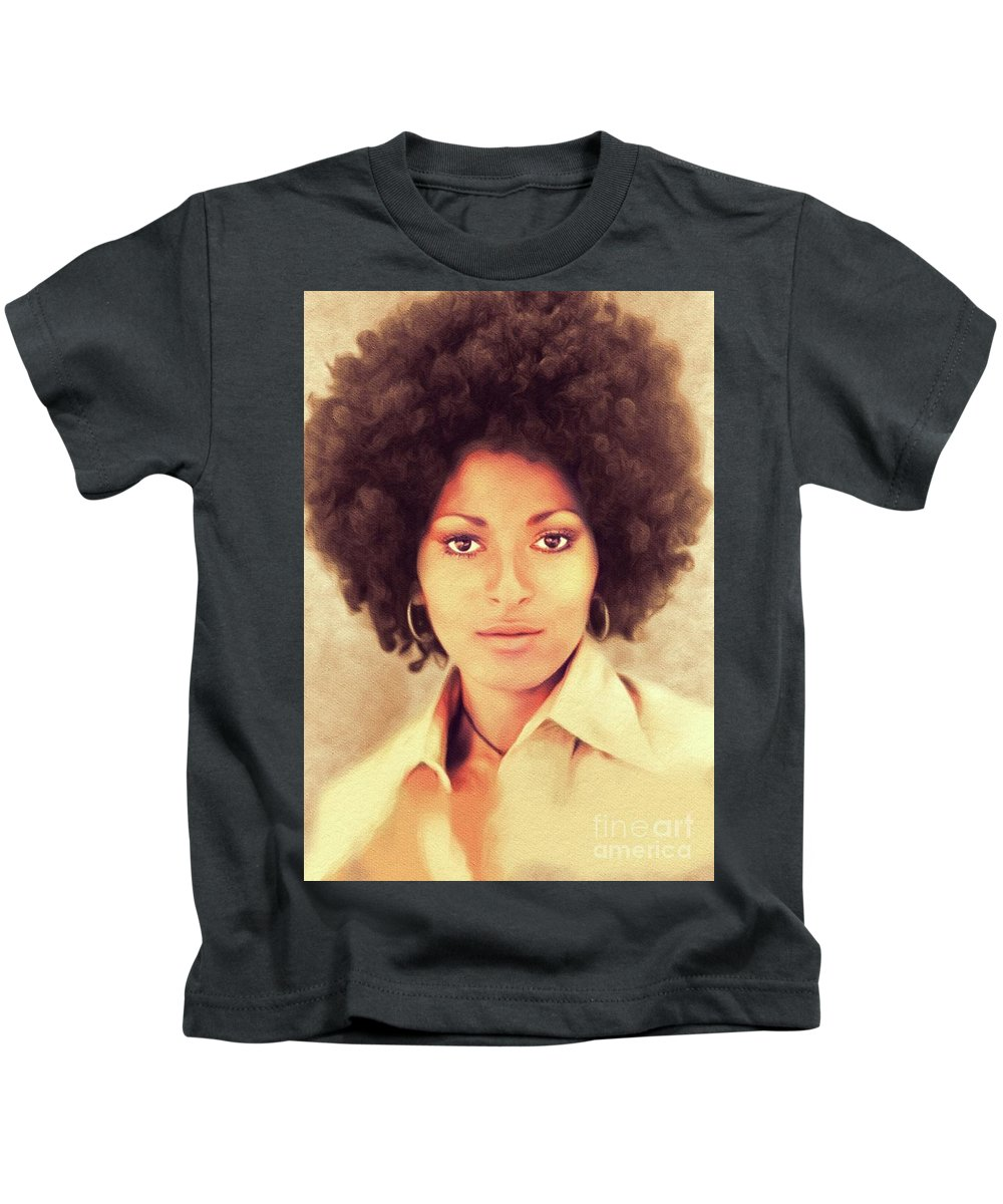 Pam Kids T-Shirt featuring the painting Pam Grier, Hollywood Legend by John Springfield
