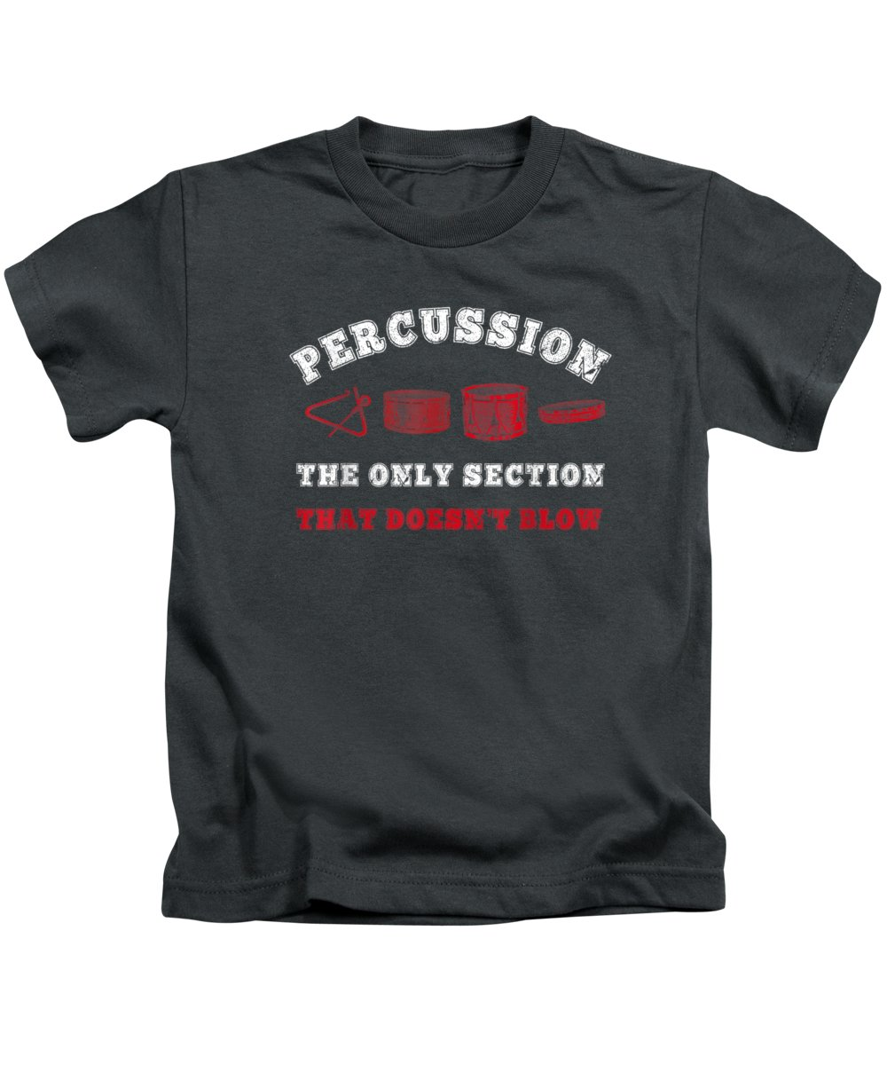 men's Novelty T-shirts Kids T-Shirt featuring the digital art Percussion Drumline Band Camp Marching Band Funny by Do David