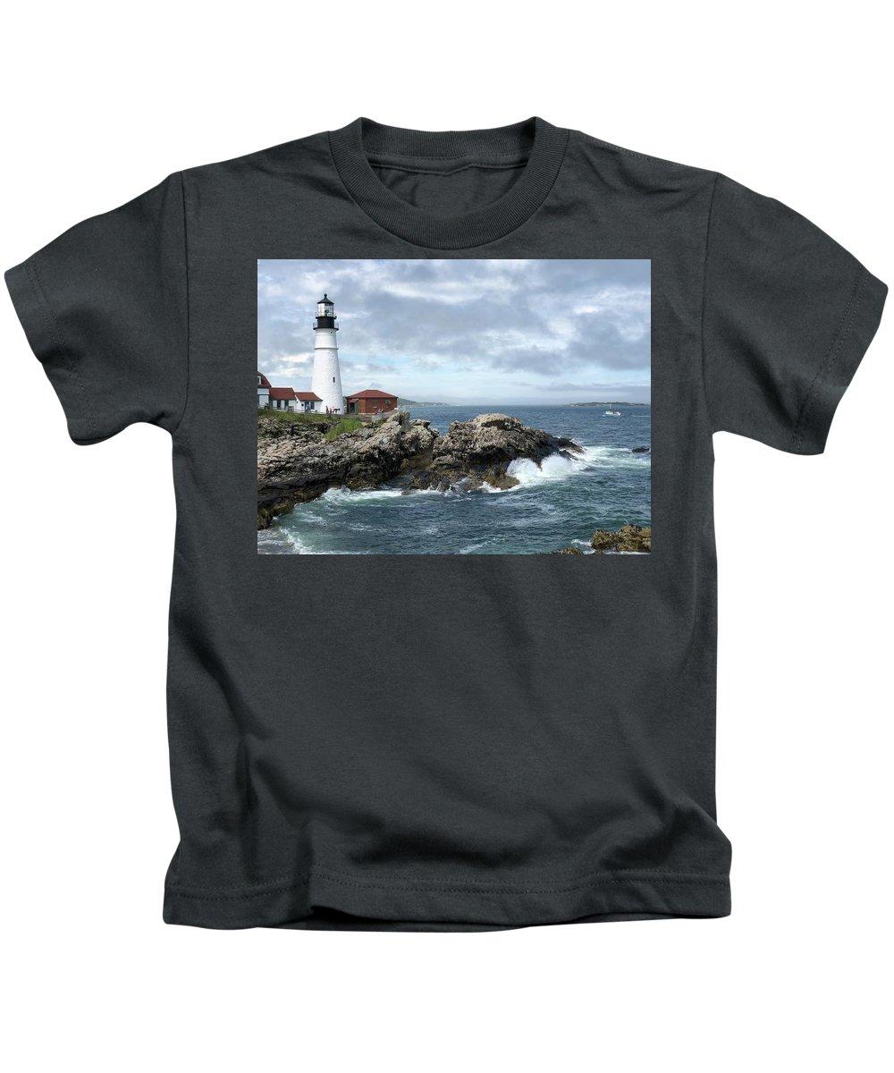Maine Kids T-Shirt featuring the photograph Portland Head Light House by Dick Goodman