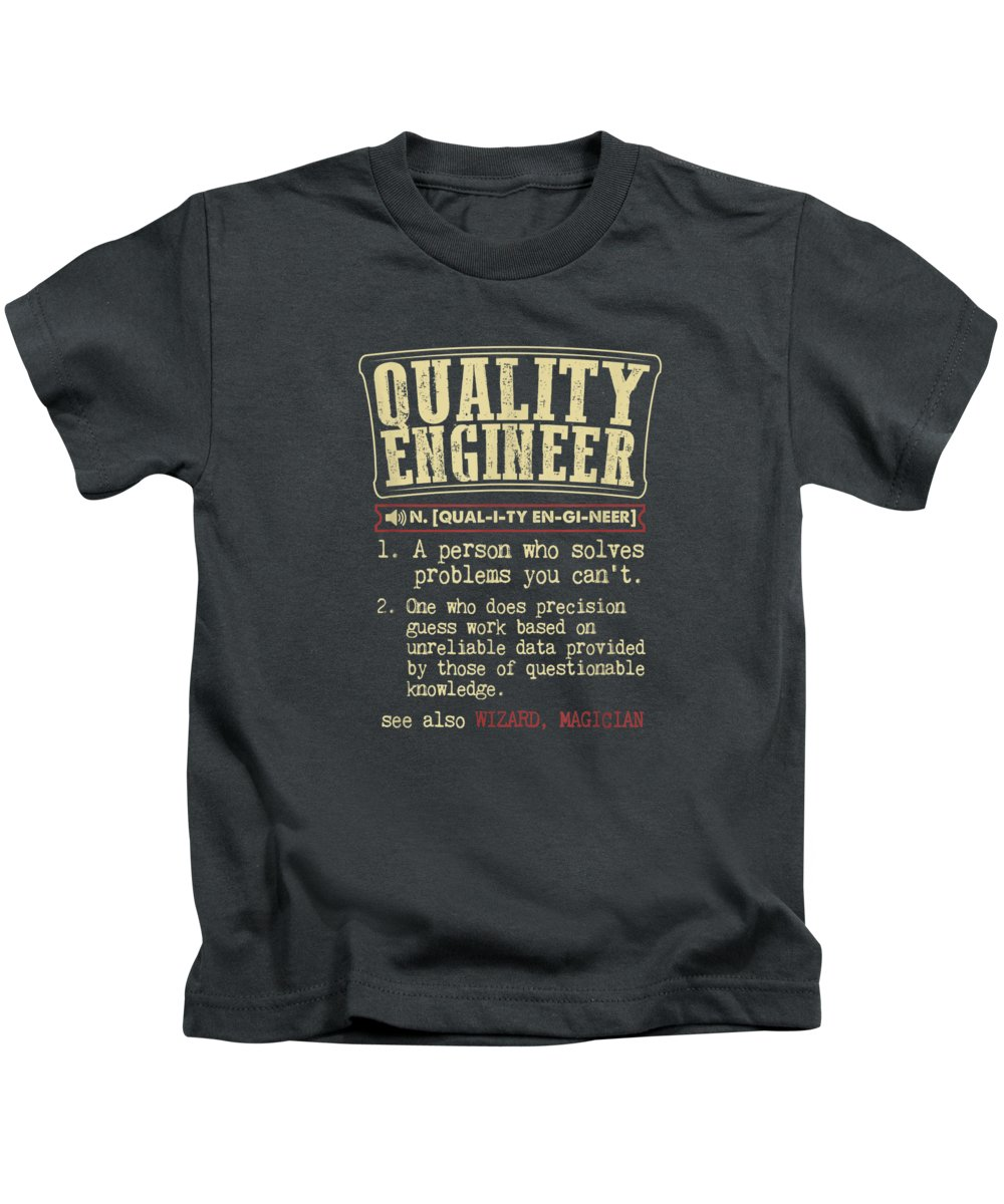 men's Novelty T-shirts Kids T-Shirt featuring the digital art Quality Engineer Funny Definition T-shirt by Do David