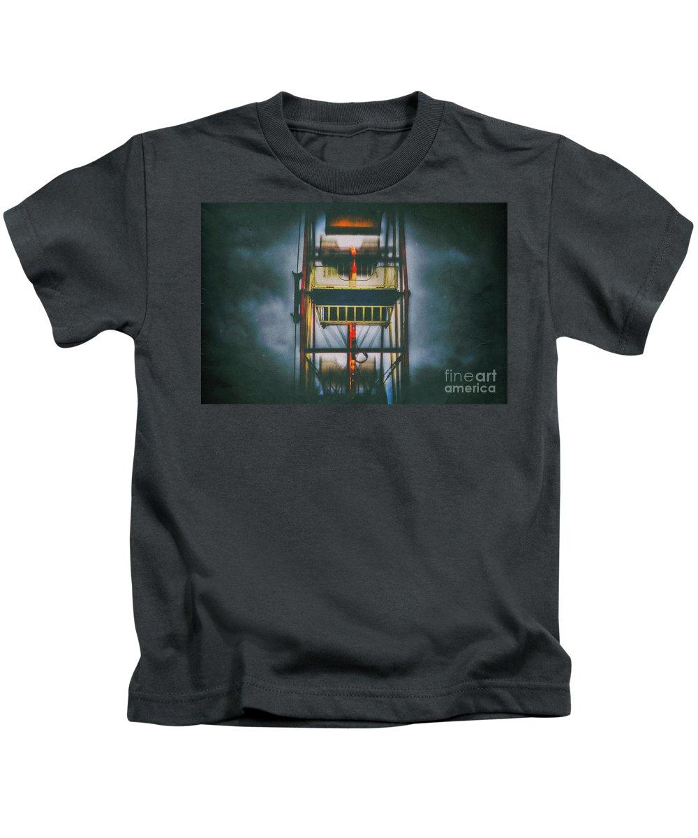 Ferris Wheel Kids T-Shirt featuring the digital art Ride The Ferris Wheel by Nigel Bangert