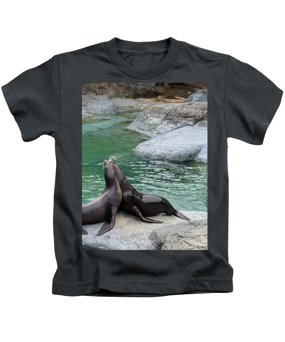 Blue Kids T-Shirt featuring the photograph Seal by Aswini Moraikat Surendran