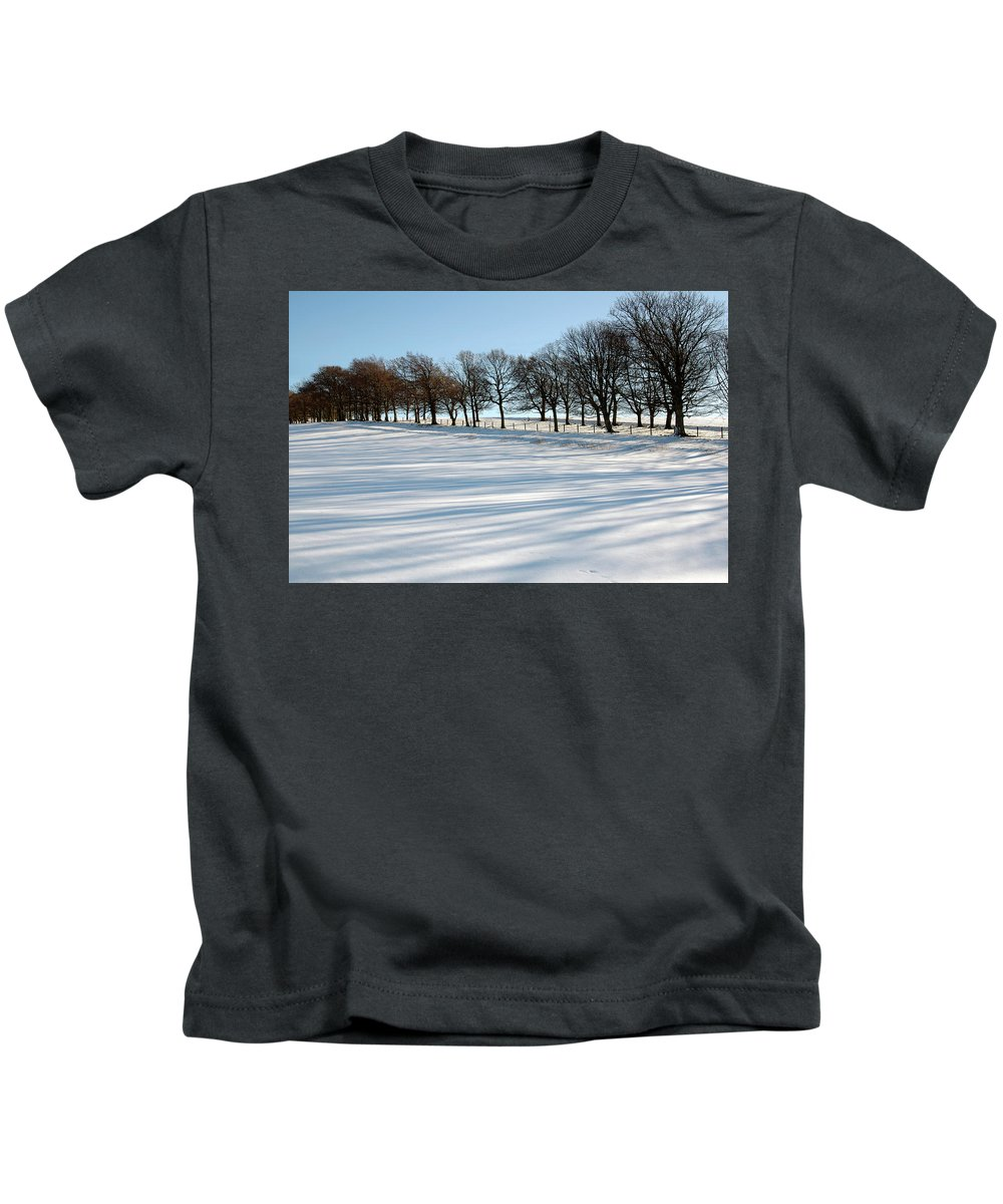Trees Kids T-Shirt featuring the photograph Shadows In The Snow by Victor Lord Denovan