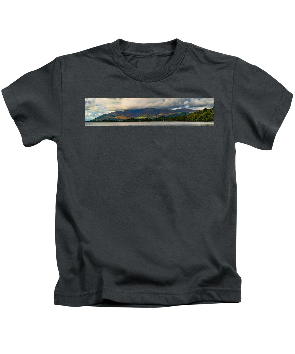 Skiddaw Kids T-Shirt featuring the photograph Skiddaw Panorama by John Collier