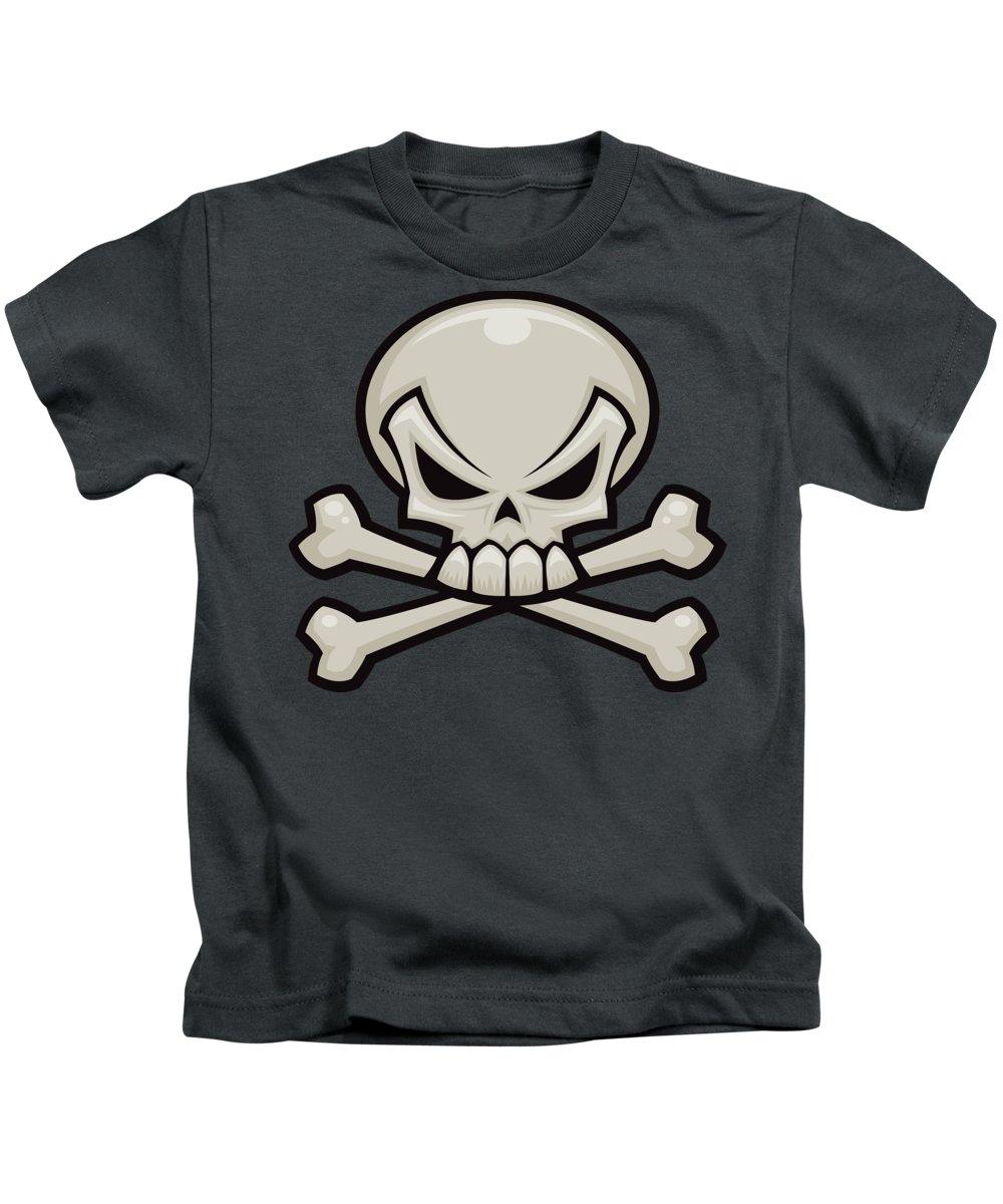 Bone Kids T-Shirt featuring the digital art Skull and Crossbones by John Schwegel