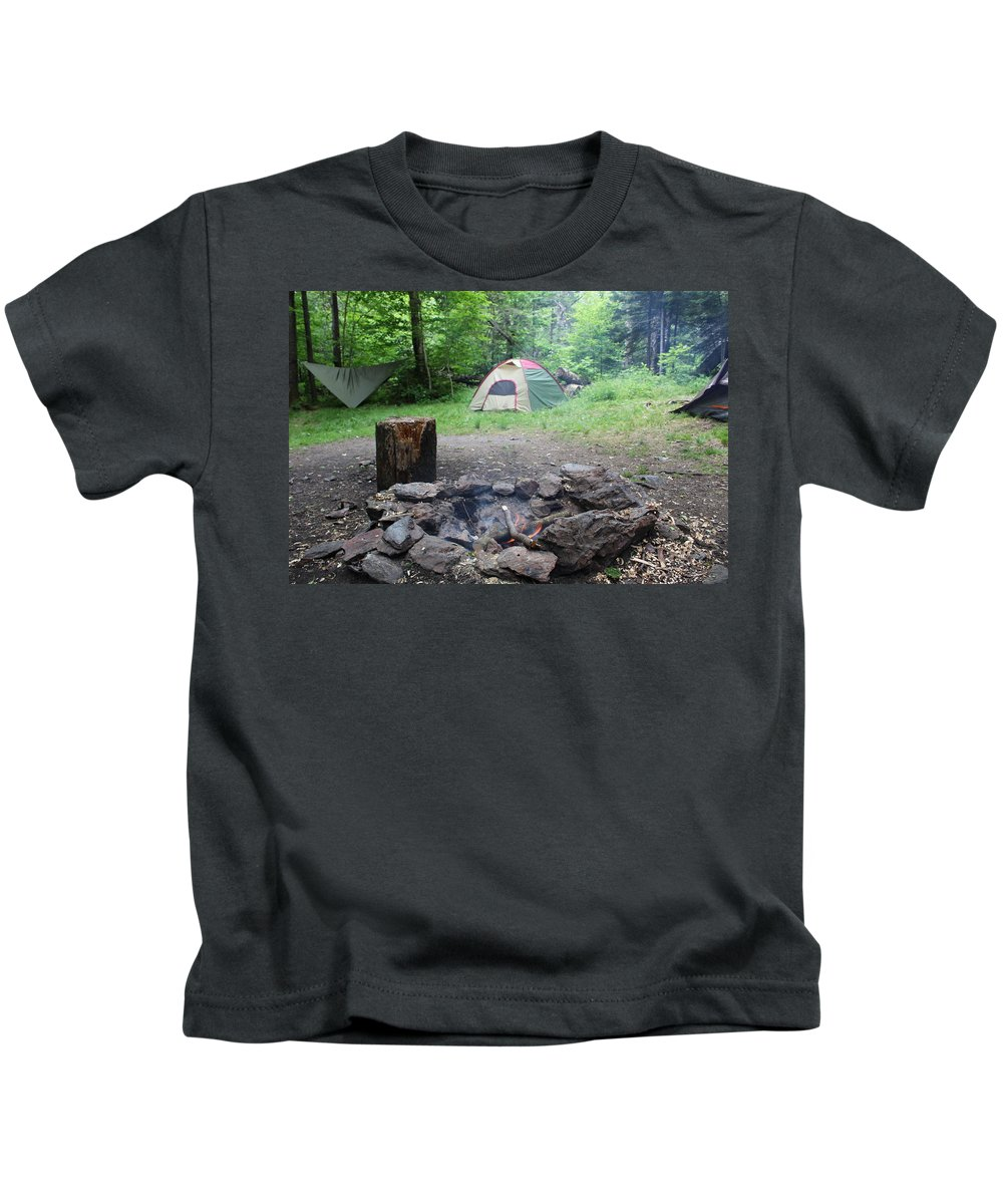 Tents Kids T-Shirt featuring the photograph Smoking Tents by Brittany Galipeau
