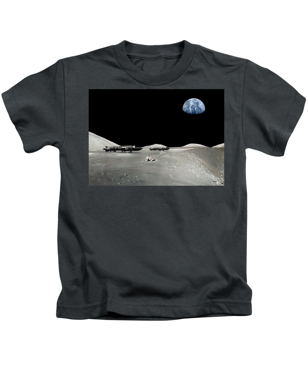 Scifi Kids T-Shirt featuring the digital art Space 1999 Eagles by Andrea Gatti