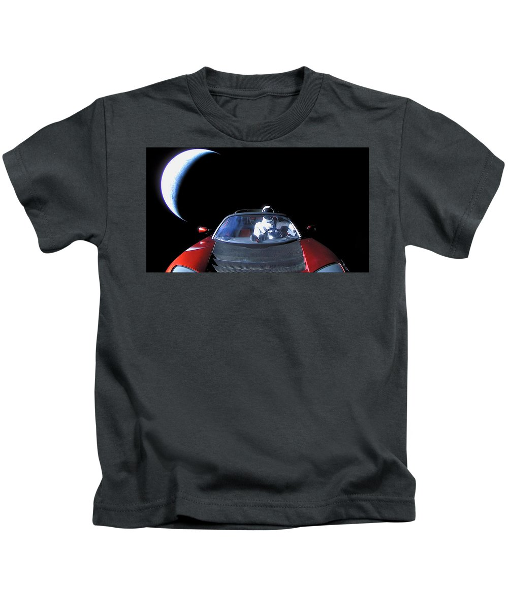 Dont Panic Kids T-Shirt featuring the photograph Spacex Starman In Space by Filip Hellman