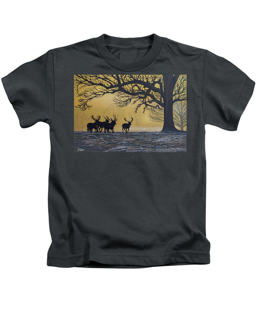 Stags Kids T-Shirt featuring the painting Stags At Dawn by Raymond Ore