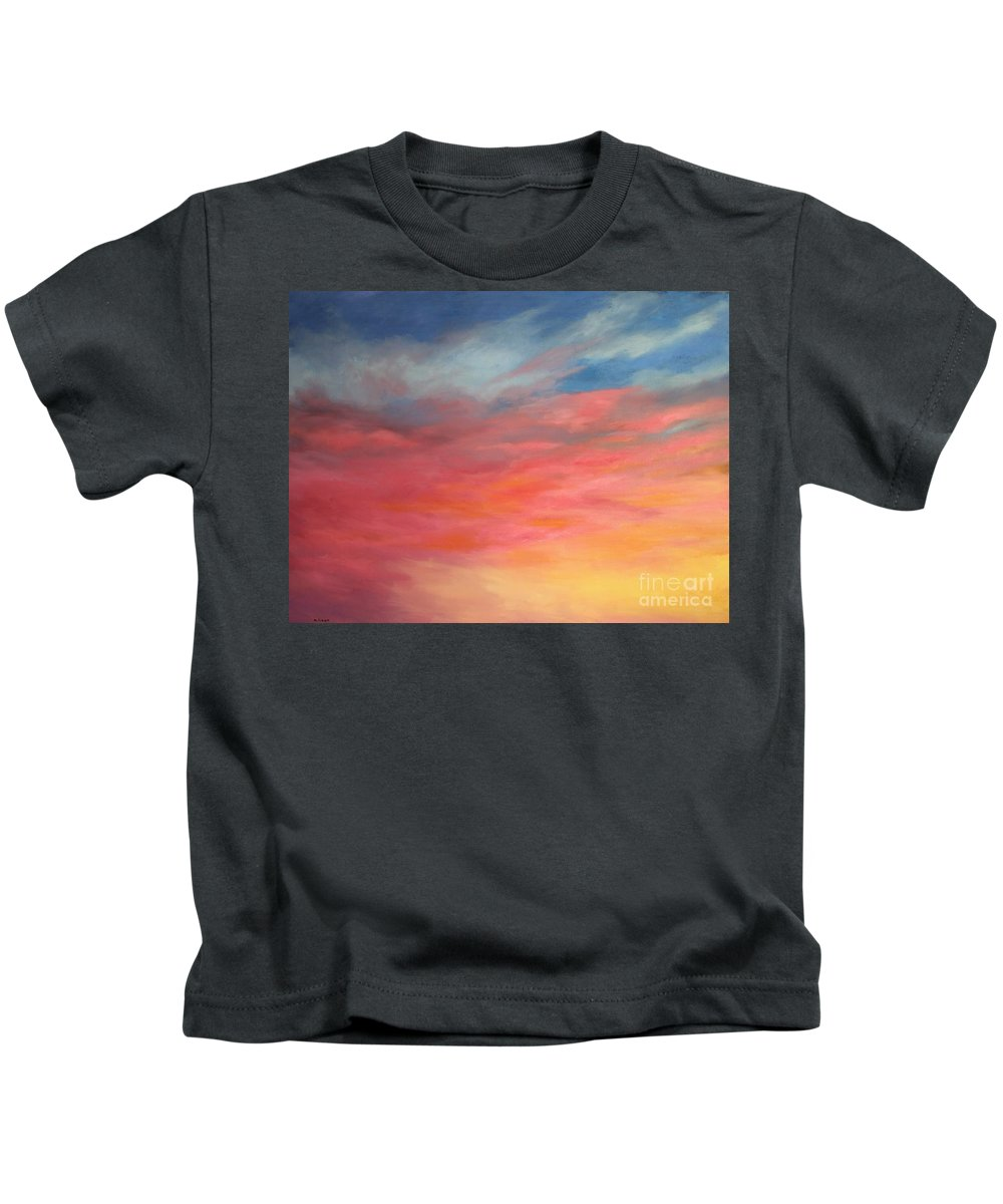Skyscape Kids T-Shirt featuring the painting Sunrise 5 by Mary Erbert
