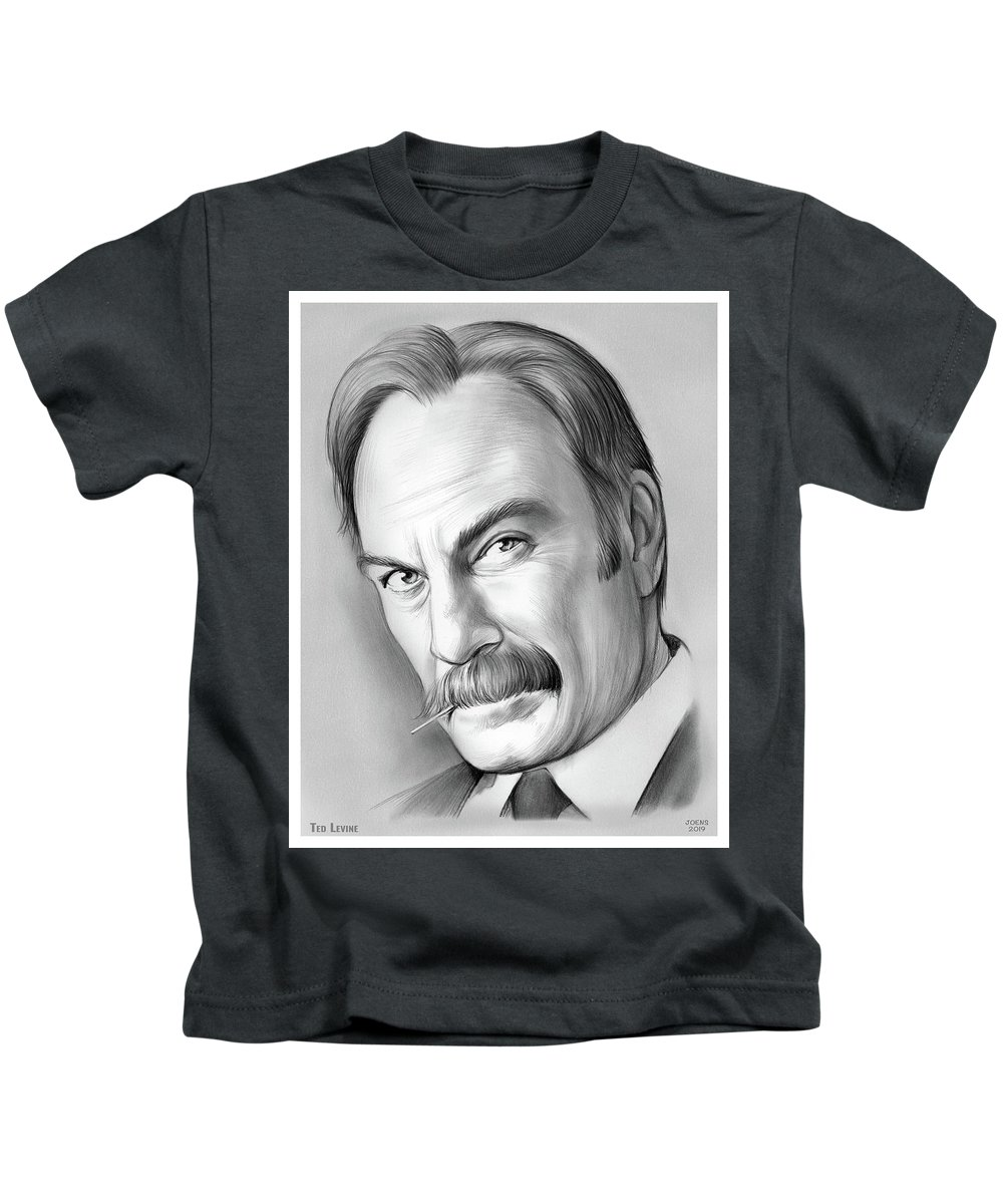 Ted Levine Kids T-Shirt featuring the drawing Ted Levine by Greg Joens