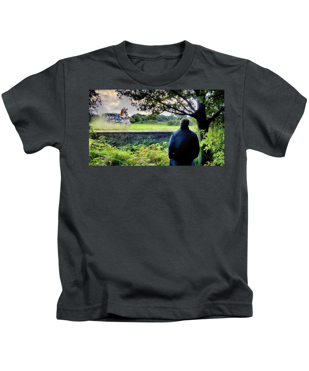 2d Kids T-Shirt featuring the photograph The Carousel Horses Escaping by Brian Wallace
