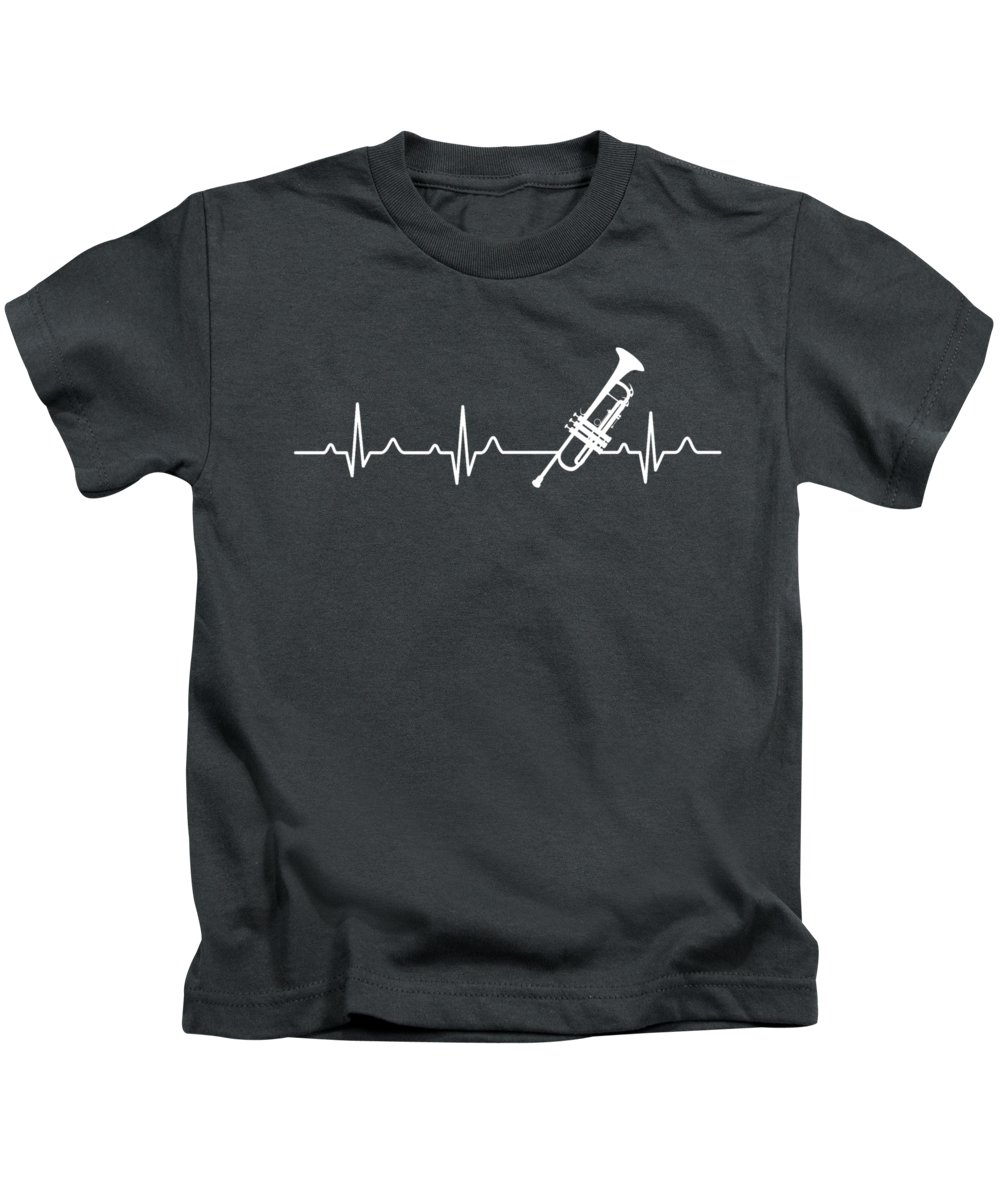 Trumpet Kids T-Shirt featuring the digital art Trumpet Heartbeat For Your Hobbie Tees by Unique Tees