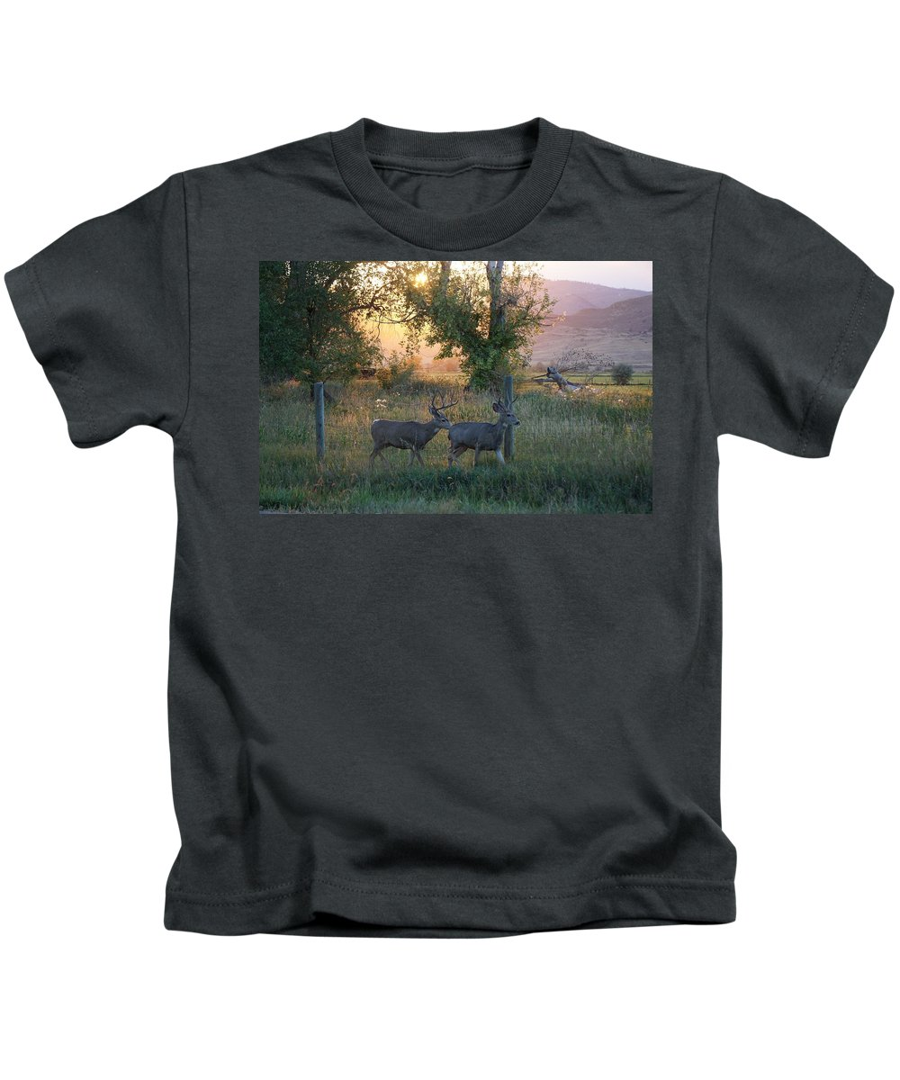 September Kids T-Shirt featuring the photograph Two Deer Sunset by Susan Brown