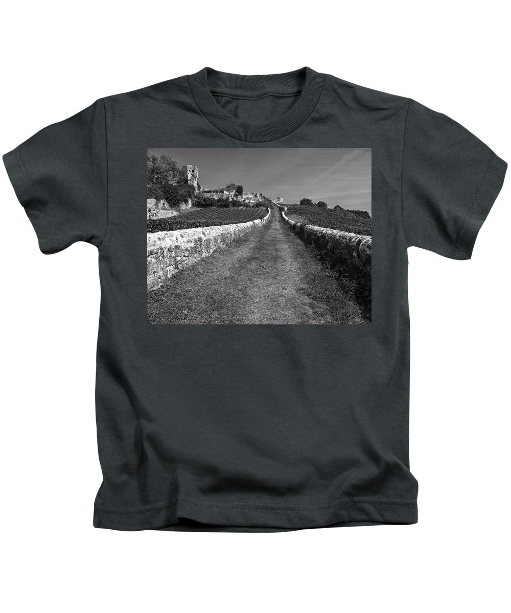 Vineyard Kids T-Shirt featuring the photograph Vineyard In Saint-emilion by Dave Mills