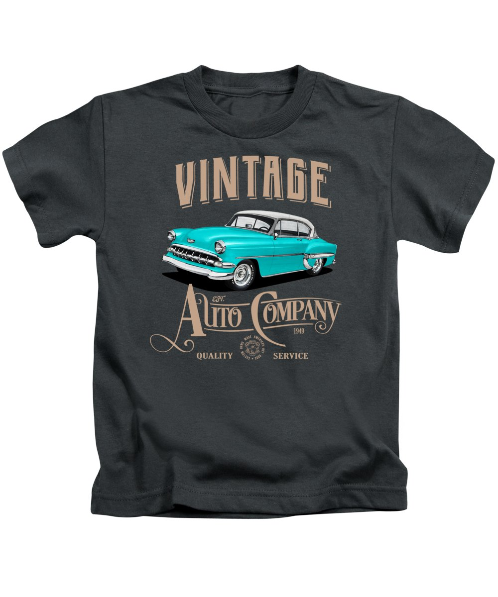 Vintage Kids T-Shirt featuring the mixed media Vintage Autos by Paul Kuras