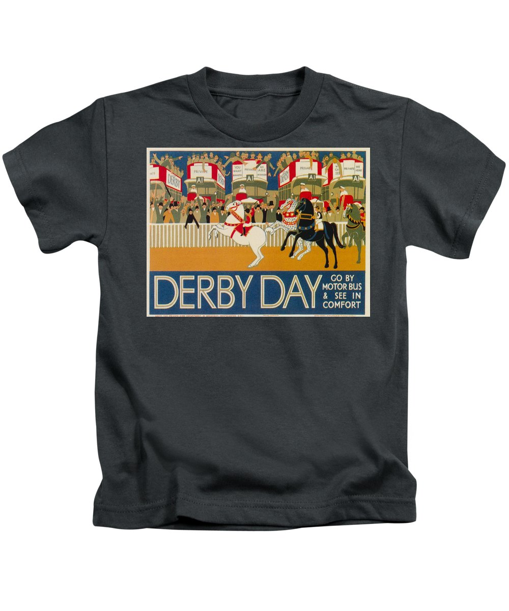 Advertisement Kids T-Shirt featuring the painting Vintage Poster - Derby Day by Vintage Images