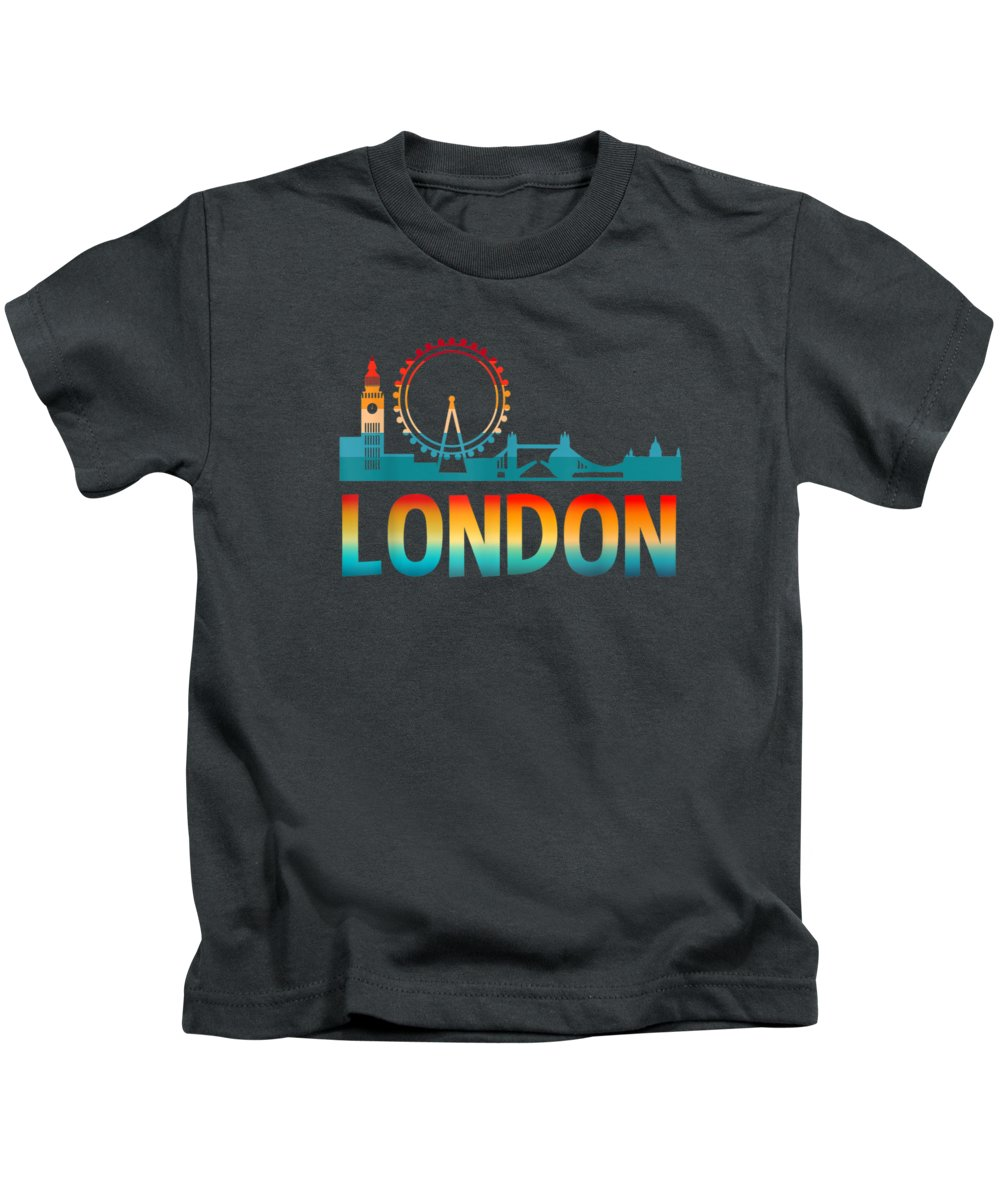 London Skyline Digital Art Kids T-Shirts