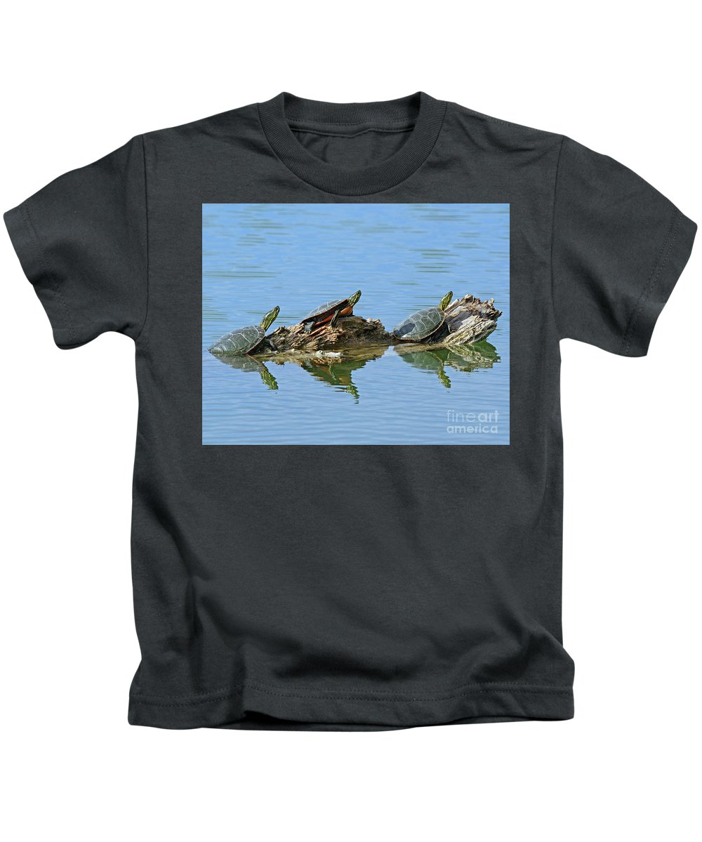 Western Kids T-Shirt featuring the photograph Western Painted Turtles by Brad Christensen