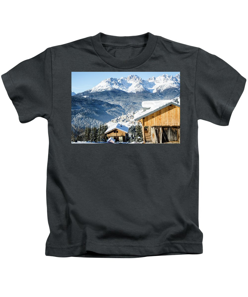 Cadore Kids T-Shirt featuring the photograph Winter Landscape On The Italian Dolomites by Marco Mariani