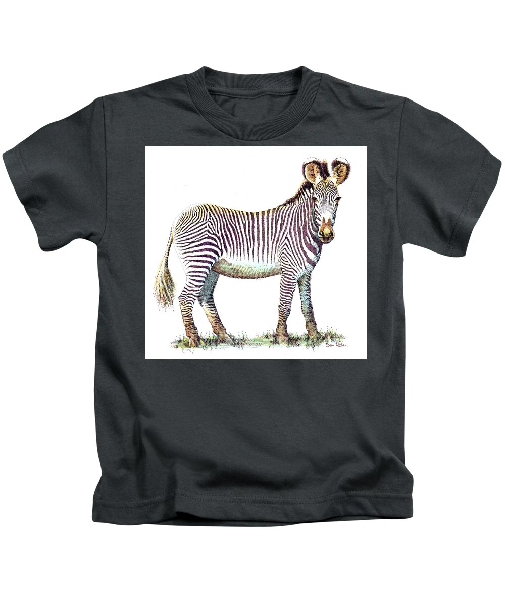Zebra. African Wildlife. Savanna Life. Zebra Pen And Ink. African Wildlife Pen And Ink. Savanna Life Pen And Ink. Kids T-Shirt featuring the drawing Zebra by Dan Nelson