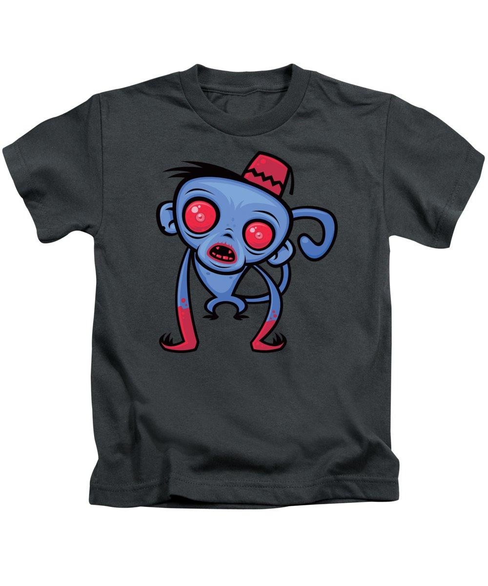 Monkey Kids T-Shirt featuring the digital art Zombie Monkey by John Schwegel