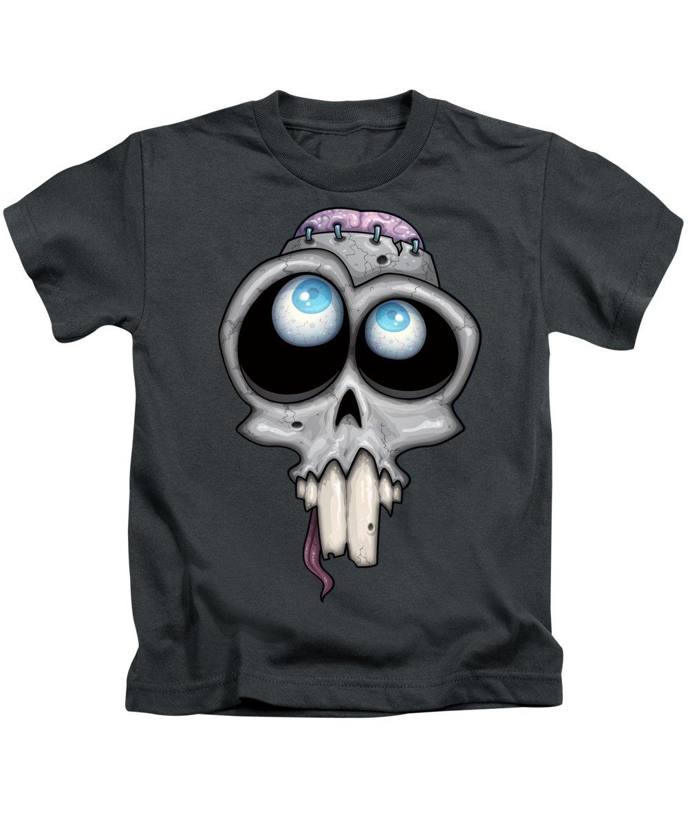 Eye Kids T-Shirt featuring the digital art Zombie Skull by John Schwegel