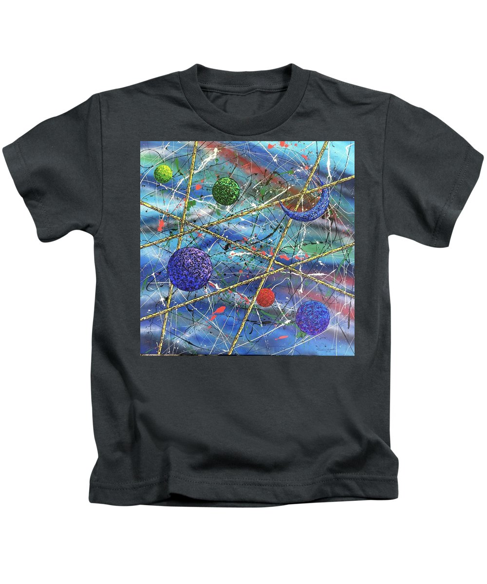 Abstract Kids T-Shirt featuring the painting Crescent #2 by Micah Guenther