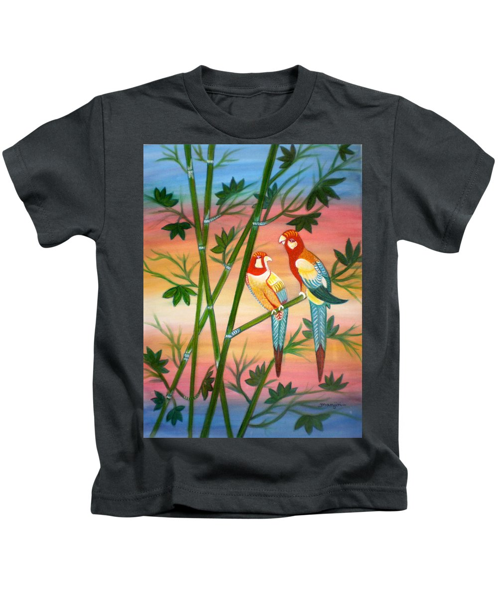 Acrylic Kids T-Shirt featuring the painting Birds in Paradise by Manjiri Kanvinde