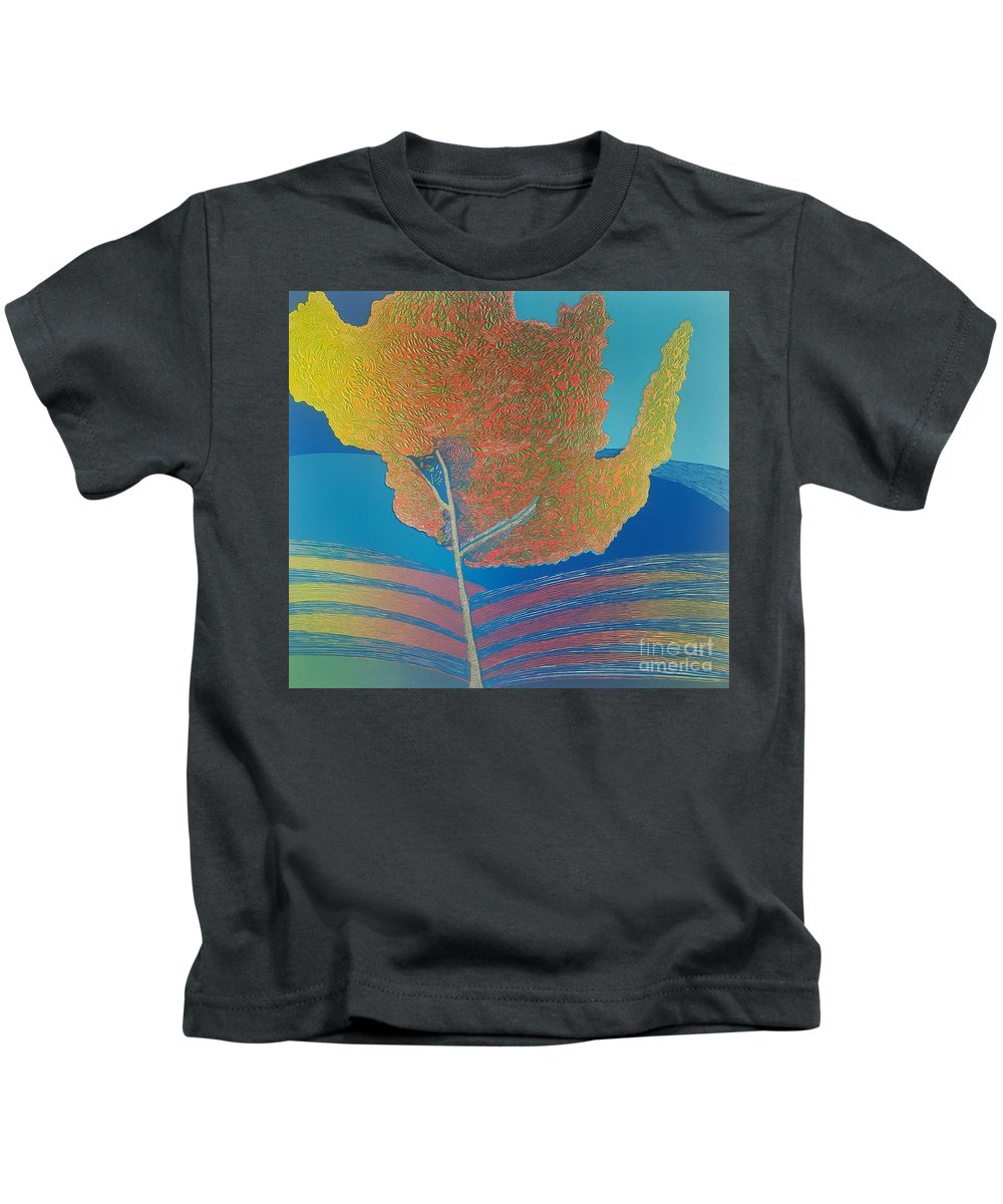 Landscape. Kids T-Shirt featuring the mixed media Autum timbre. by Jarle Rosseland