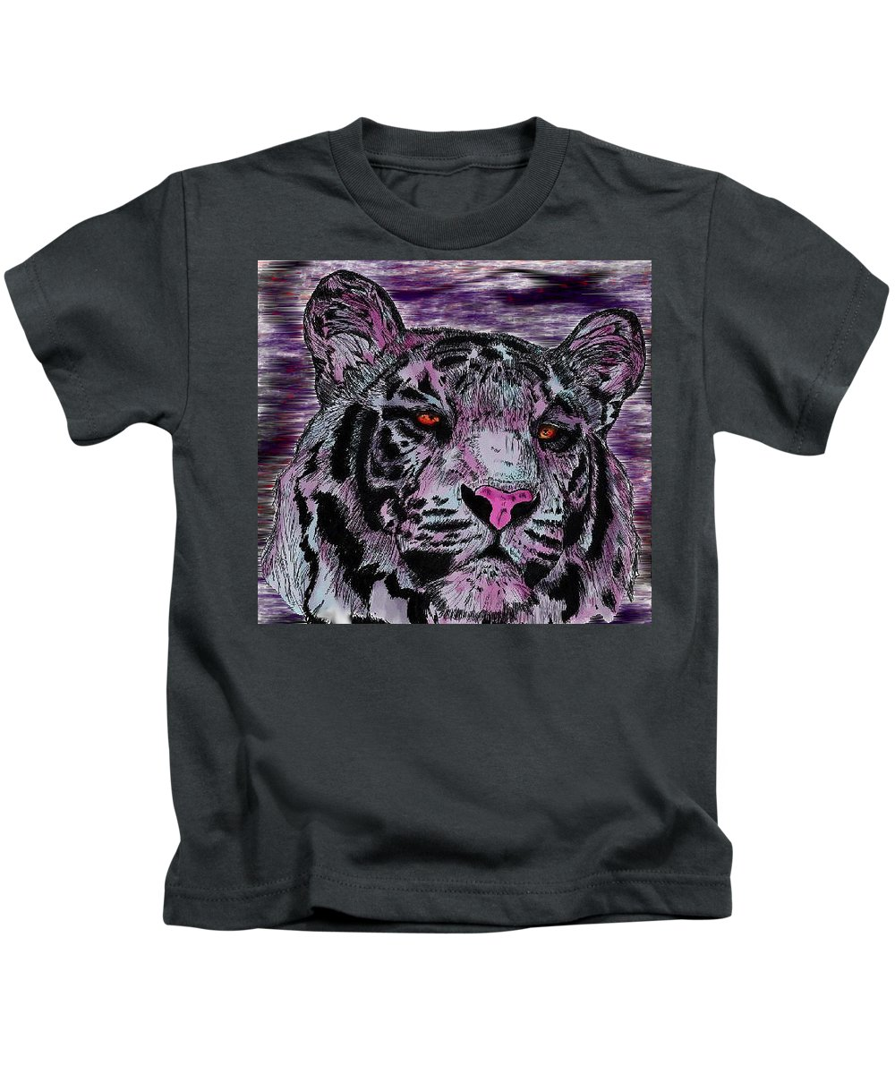 Tiger Kids T-Shirt featuring the digital art Bashful Reloaded by Crystal Hubbard