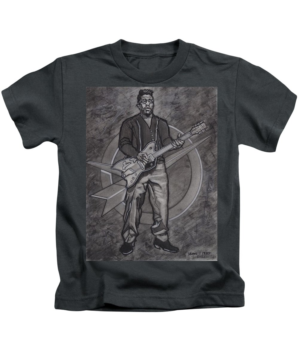 Texas Kids T-Shirt featuring the drawing Bo Diddley - Have Guitar Will Travel by Sean Connolly