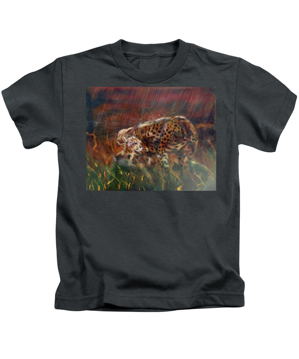 Oil Painting On Canvas Kids T-Shirt featuring the painting Cheetah Family After The Rains by Sean Connolly