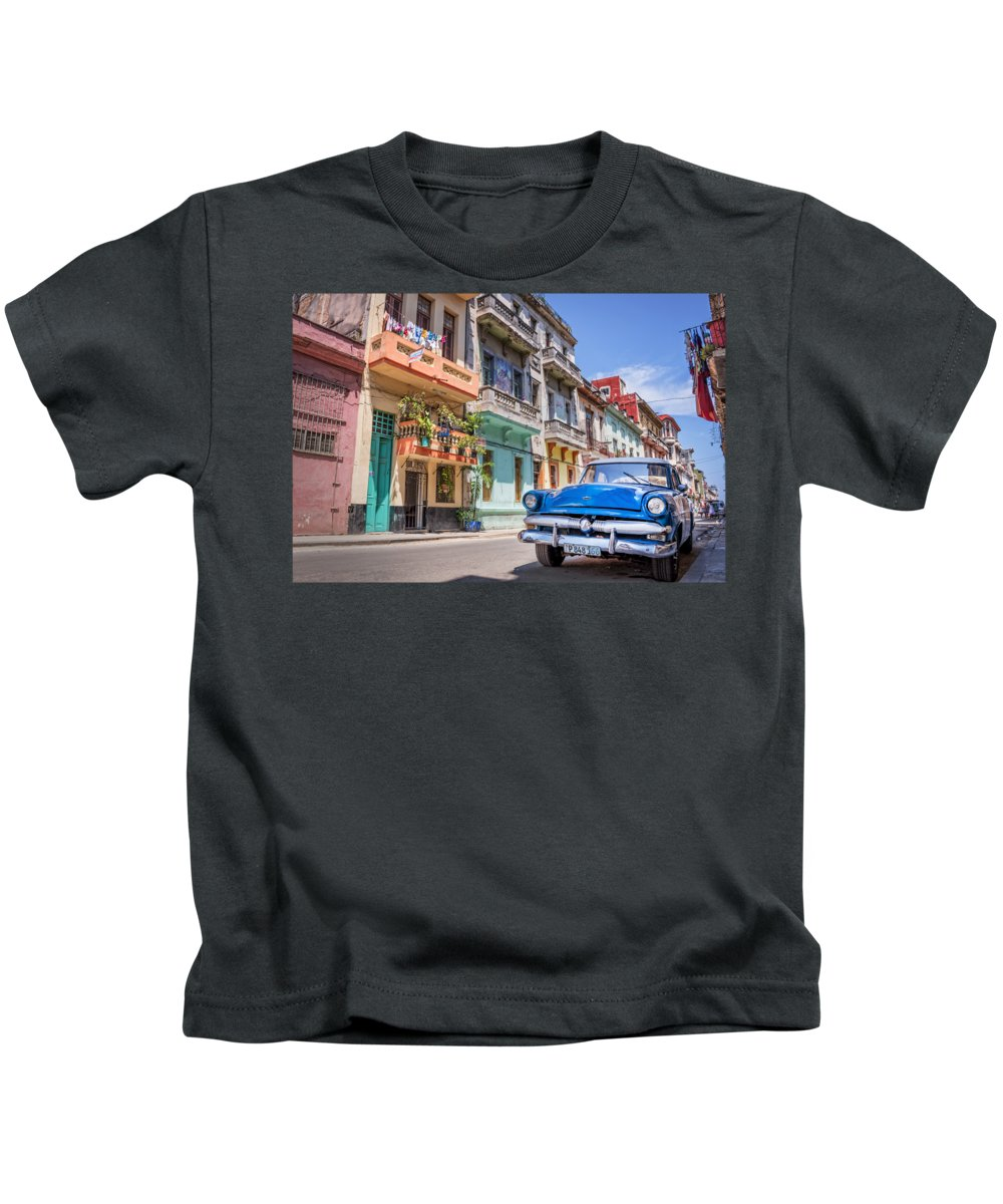 Classic Kids T-Shirt featuring the photograph Classic car in Havana, Cuba by Delphimages Photo Creations