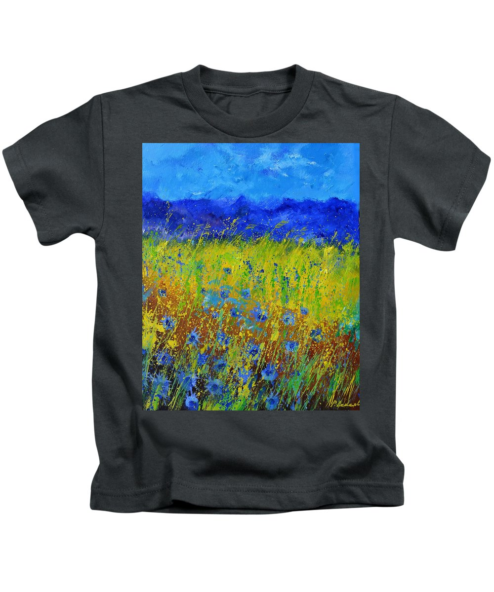 Flowers Kids T-Shirt featuring the painting Cornflowers 562021 by Pol Ledent