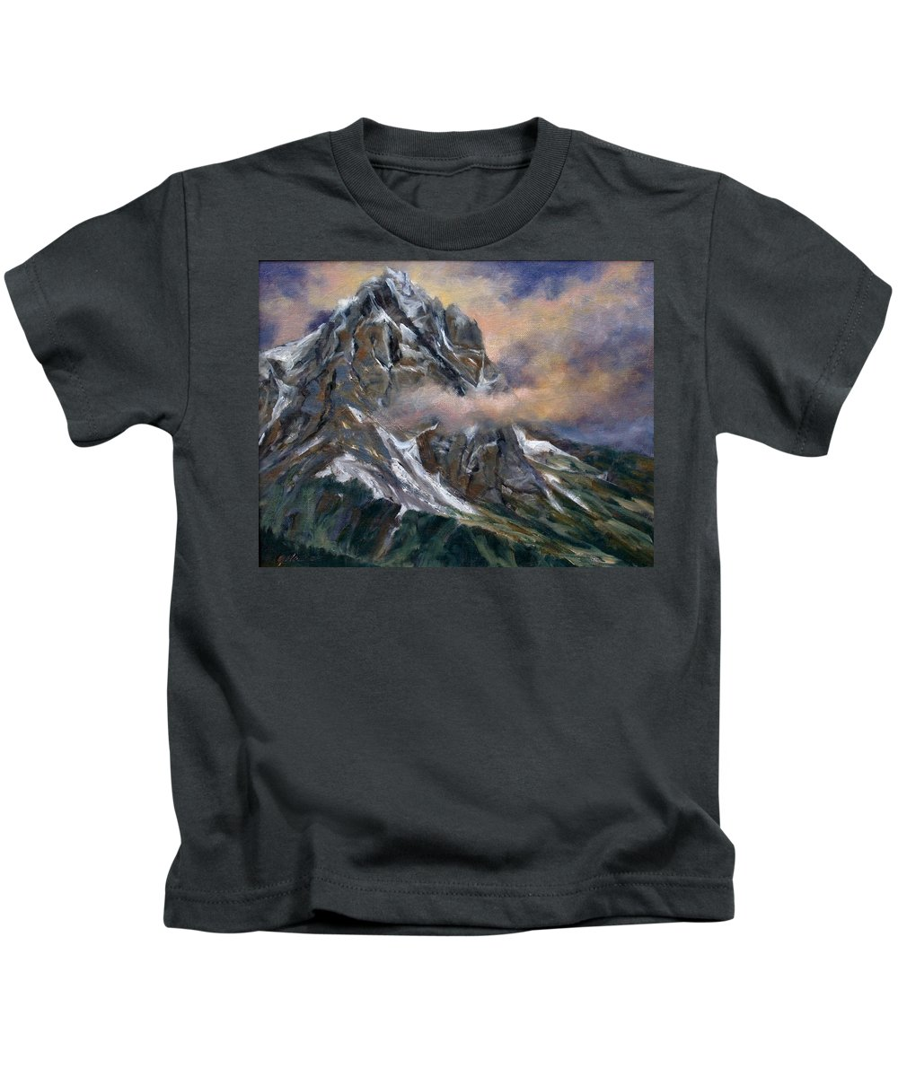 Landscape Kids T-Shirt featuring the painting Daddy Teton by Jim Gola