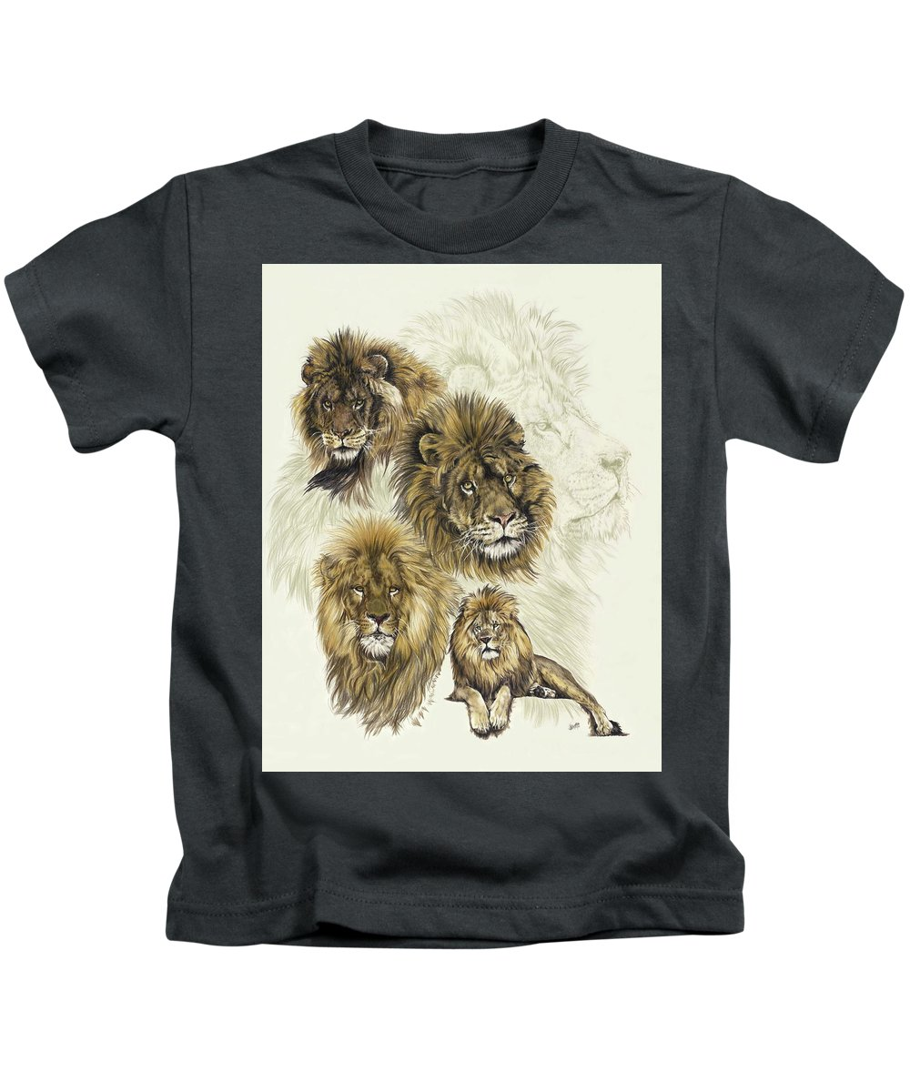Lion Kids T-Shirt featuring the mixed media Dauntless by Barbara Keith