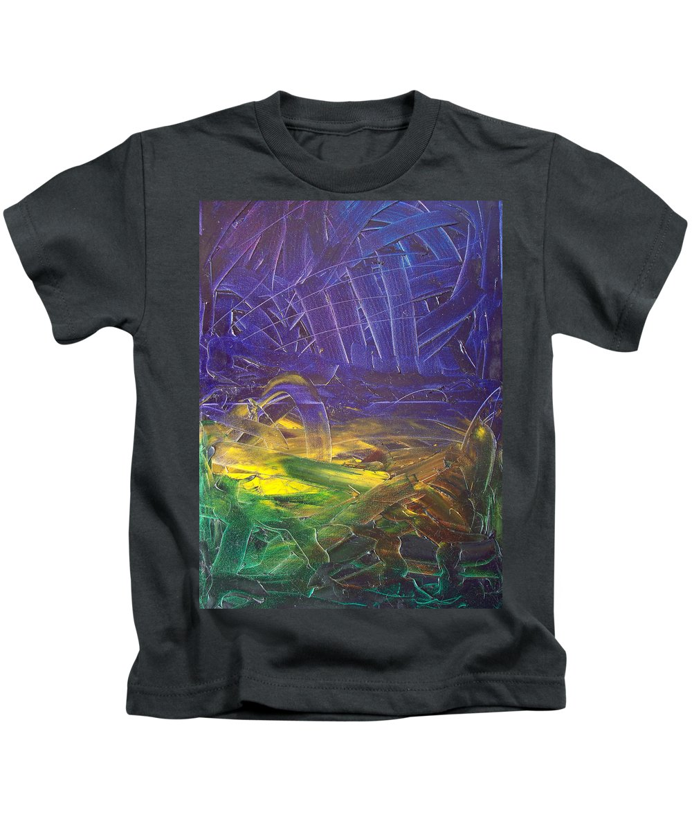 Painting Kids T-Shirt featuring the painting Forest. Part2 by Sergey Bezhinets