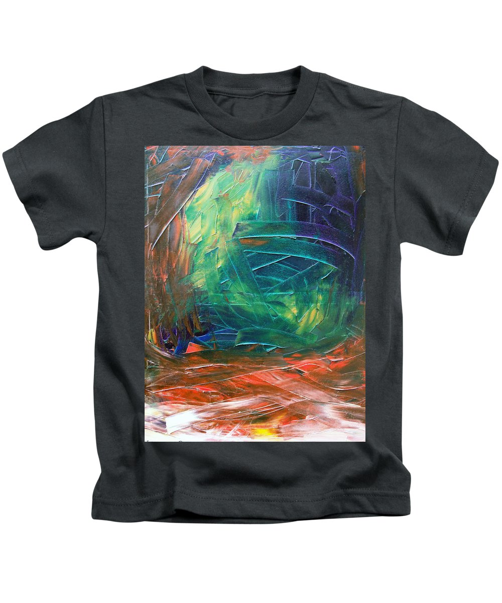 Painting Kids T-Shirt featuring the painting Forest.Part3 by Sergey Bezhinets