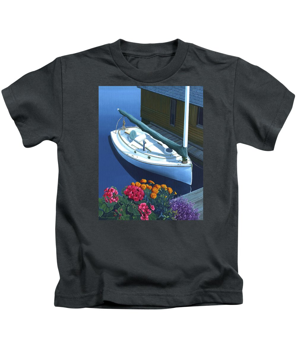 Seascape Kids T-Shirt featuring the painting Granville Island Catboat by Gary Giacomelli