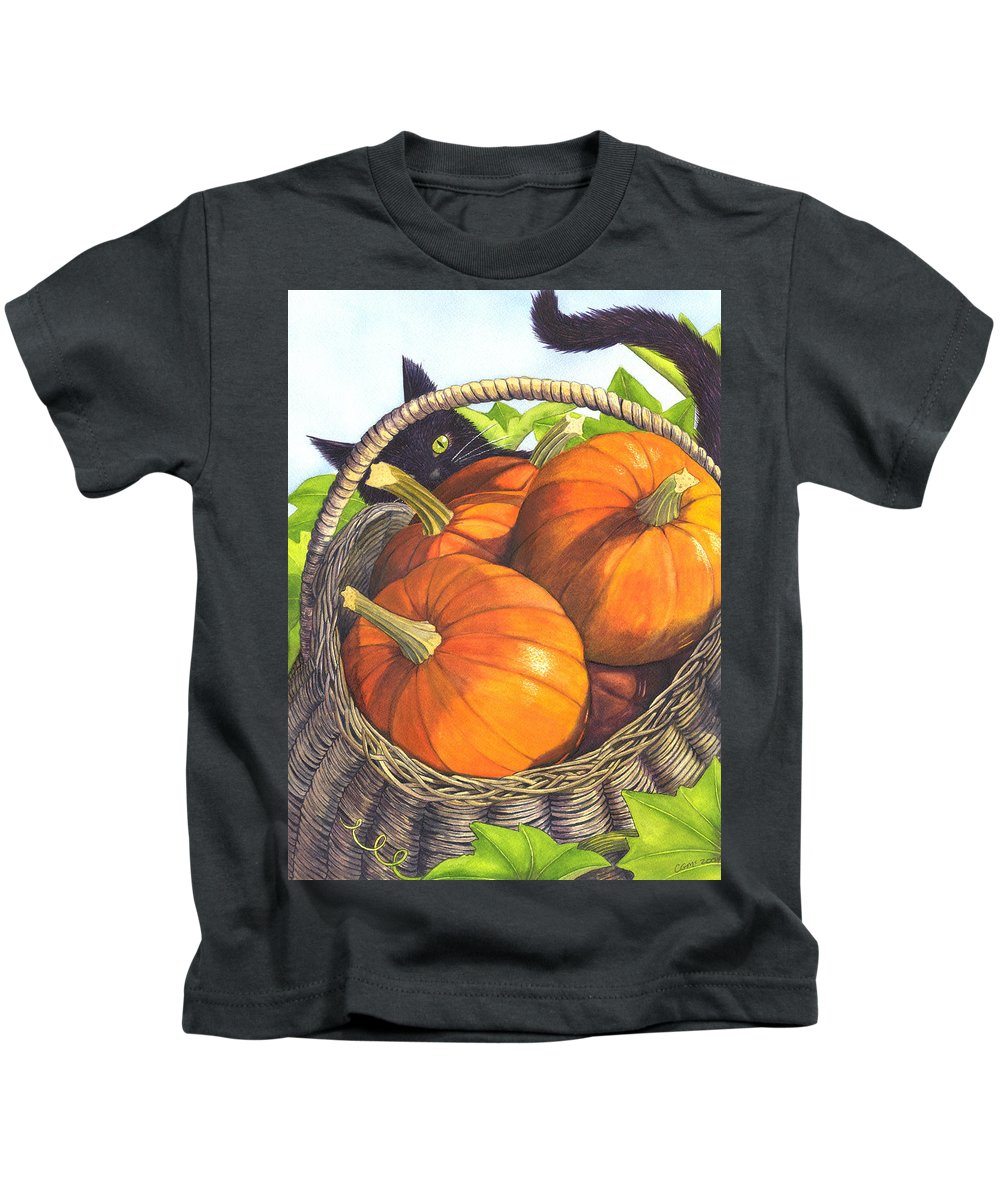 Pumpkin Kids T-Shirt featuring the painting Harvest by Catherine G McElroy