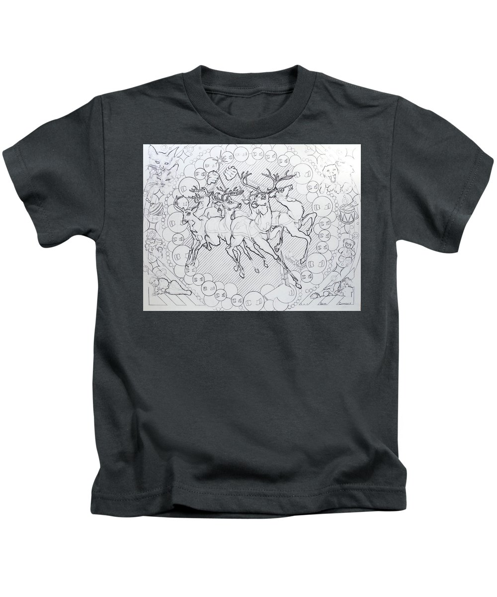 Charcoal On Paper Kids T-Shirt featuring the drawing His Courses They Came by Sean Connolly