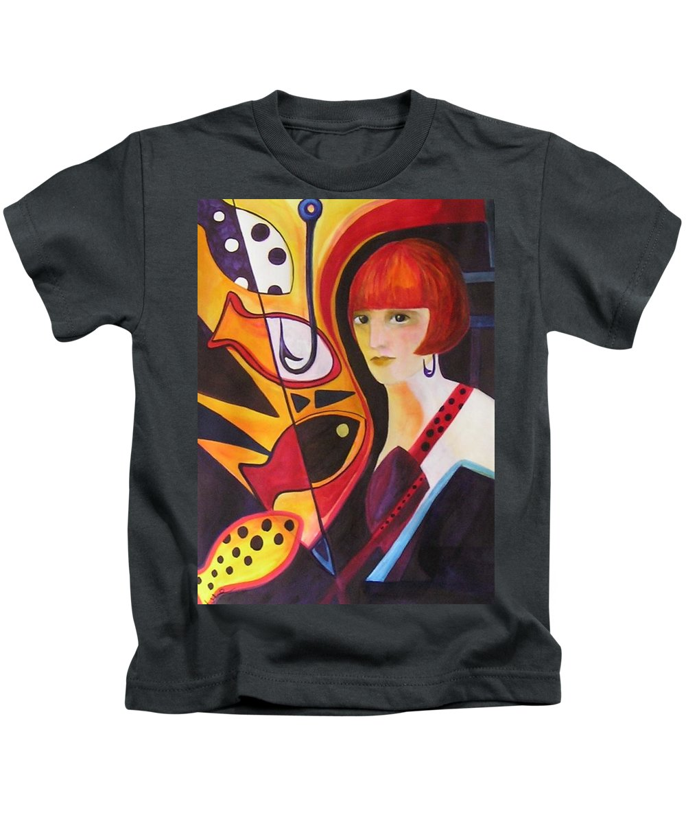 Woman Kids T-Shirt featuring the painting Hooked by Carolyn LeGrand