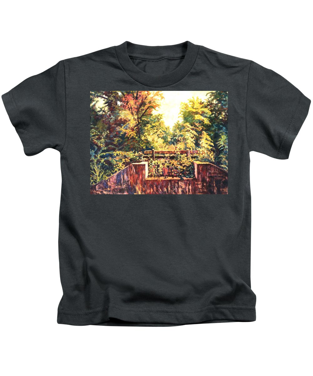 Landscape Kids T-Shirt featuring the painting Huckleberry Line Trail by Kendall Kessler